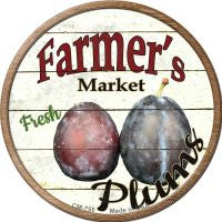Farmers Market Plum Novelty Metal Mini Circle Magnet