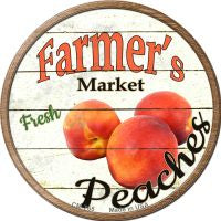 Farmers Market Peaches Novelty Metal Mini Circle Magnet