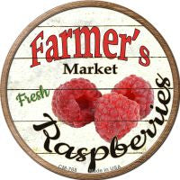 Farmers Market Raspberries Novelty Metal Mini Circle Magnet