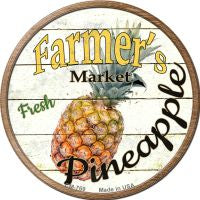 Farmers Market Pineapple Novelty Metal Mini Circle Magnet