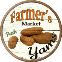 Farmers Market Yams Novelty Metal Mini Circle Magnet