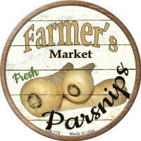 Farmers Market Parsnips Novelty Metal Mini Circle Magnet