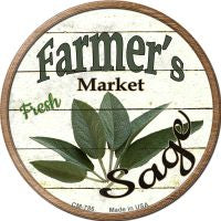 Farmers Market Sage Novelty Metal Mini Circle Magnet