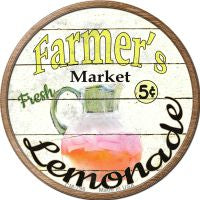 Farmers Market Lemonade Novelty Metal Mini Circle Magnet