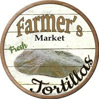 Farmers Market Tortillas Novelty Metal Mini Circle Magnet