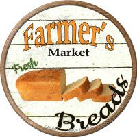 Farmers Market Breads Novelty Metal Mini Circle Magnet