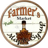 Farmers Market Maple Syrup Novelty Metal Mini Circle Magnet