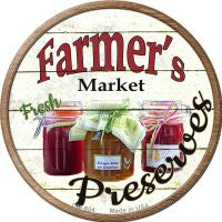 Farmers Market Preserves Novelty Metal Mini Circle Magnet