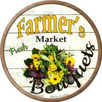 Farmers Market Bouquets Novelty Metal Mini Circle Magnet