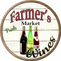 Farmers Market Wines Novelty Metal Mini Circle Magnet