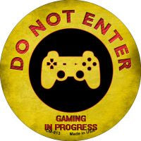 Do Not Enter Playstation Gaming In Progress Novelty Metal Mini Circle Magnet