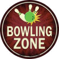 Bowling Zone Novelty Metal Mini Circle Magnet