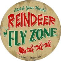 Reindeer Fly Zone Novelty Metal Mini Circle Magnet