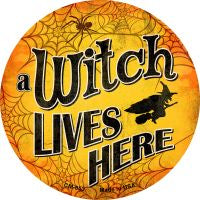 A Witch Lives Here Novelty Metal Mini Circle Magnet
