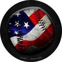 American Baseball Novelty Metal Mini Circle Magnet