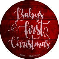 Babys First Christmas Novelty Metal Mini Circle Magnet