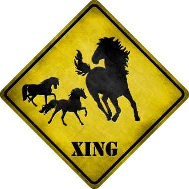 Horse Xing Novelty Metal Crossing Sign CX-021