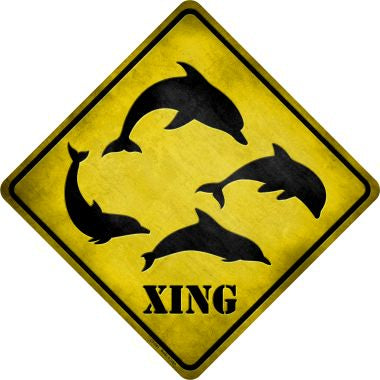 Dolphins Xing Novelty Metal Crossing Sign CX-041