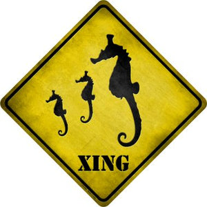Seahorse Xing Novelty Metal Crossing Sign CX-046