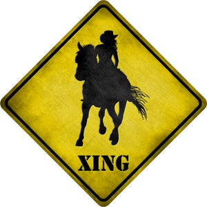 Cowgirl Xing Novelty Metal Crossing Sign CX-066