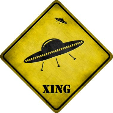 UFO Spaceship Xing Novelty Metal Crossing Sign CX-070