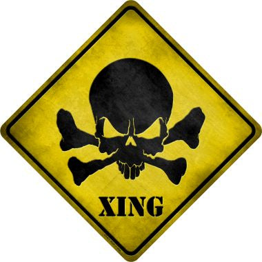 Skull Xing Novelty Metal Crossing Sign