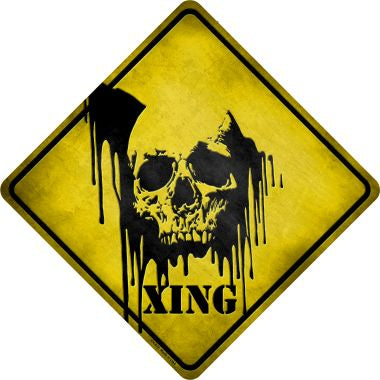 Bleeding Skull Xing Novelty Metal Crossing Sign