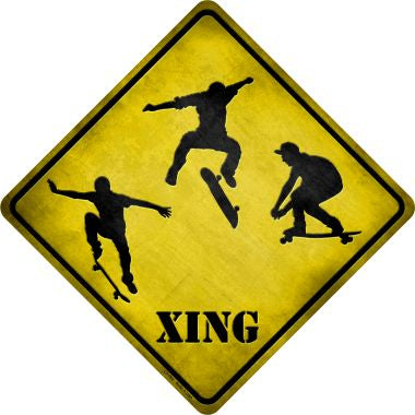 Skateboarder Xing Novelty Metal Crossing Sign CX-082
