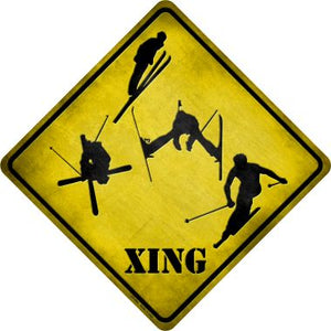 Skier Xing Novelty Metal Crossing Sign CX-084