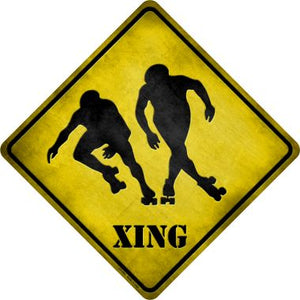 Rollerskaters Xing Novelty Metal Crossing Sign CX-085