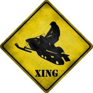 Snow Mobile Xing Novelty Metal Crossing Sign CX-095