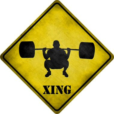 Weight Lifting Xing Novelty Metal Crossing Sign CX-102
