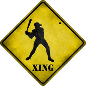 Baseball Xing Novelty Metal Crossing Sign CX-104