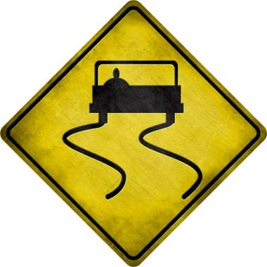 Slippery Road Novelty Metal Crossing Sign CX-116