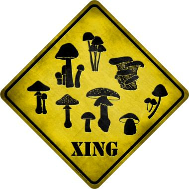 Mushrooms Xing Novelty Metal Crossing Sign CX-132