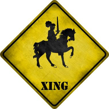 Knight on Horse Xing Novelty Metal Crossing Sign CX-143