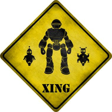 Robots Xing Novelty Metal Crossing Sign CX-153