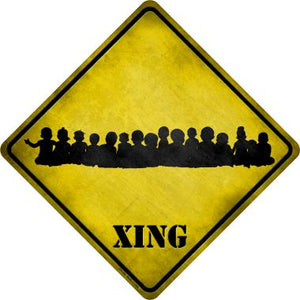 Toddler Crowd Xing Novelty Metal Crossing Sign CX-159