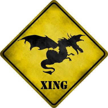 Dragon In Flight Xing Novelty Metal Crossing Sign CX-172