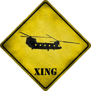 Transport Helicopter Xing Novelty Metal Crossing Sign CX-176