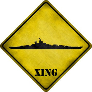 Battleship Xing Novelty Metal Crossing Sign CX-177