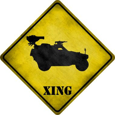 Truck With Mounted Back Weapon Xing Novelty Metal Crossing Sign CX-178