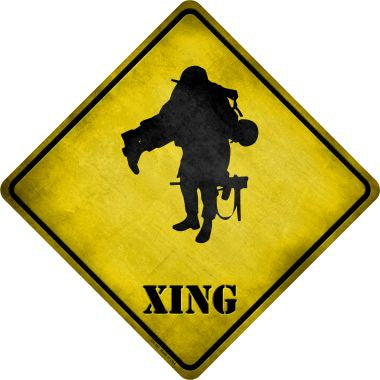 Soldier Carrying Wounded Xing Novelty Metal Crossing Sign CX-181