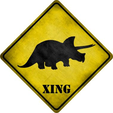 Triceratops Xing Novelty Metal Crossing Sign CX-183