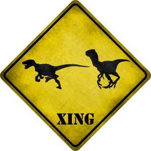 Velociraptors Xing Novelty Metal Crossing Sign CX-186