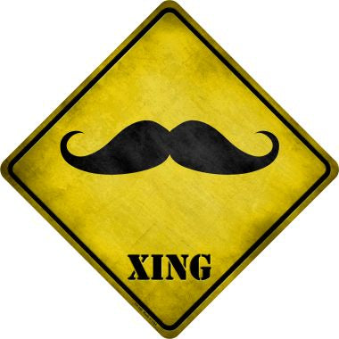 Classic Moustache Xing Novelty Metal Crossing Sign CX-188