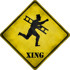 Victorian Chimney Sweeper With Ladder Xing Novelty Metal Crossing Sign CX-189