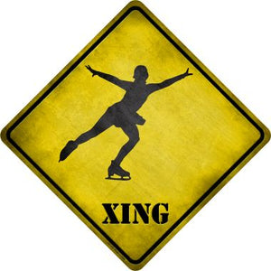 Figure Skater Xing Novelty Metal Crossing Sign CX-193
