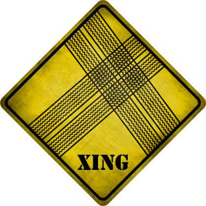 Tire Tracks Xing Novelty Metal Crossing Sign CX-195