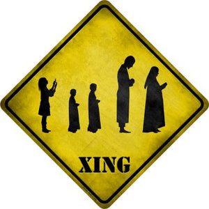 Group Praying Xing Novelty Metal Crossing Sign CX-204